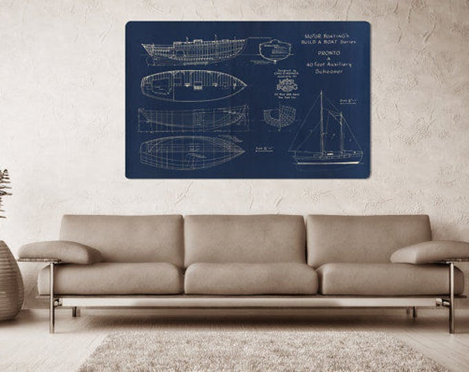 Vintage Print of PRONTO Runabout Diagram Line Drawing Schematic Blueprint on Matte Paper, Photo Paper or Stretched Canvas
