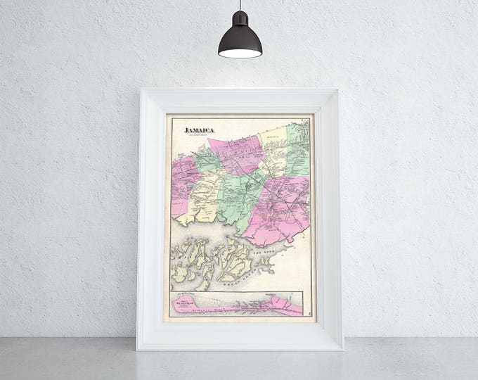 Print of Antique Map of Jamaica on Photo Paper Matte Paper or Stretched Canvas