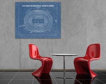 Vintage Print of Los Angeles Memorial Sports Arena Seating Chart on Premium Photo Luster Paper Heavy Matte Paper, or Stretched Canvas.