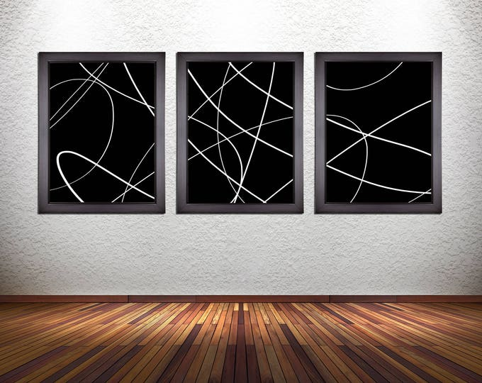 Set of 3 Abstract Line Art Prints on Photo Paper, Canvas, or Heavy Matte Paper