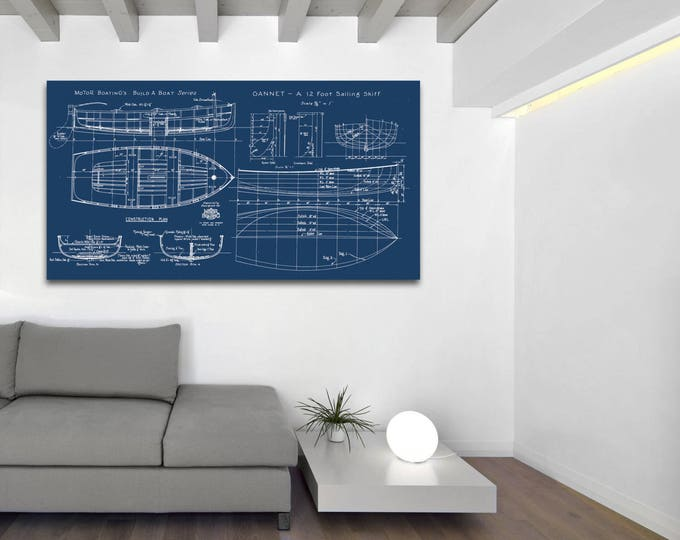 Print of Vintage GANNET Boat Blueprint from Motor Boating's Build a Boat Series on Your Choice of Matte Paper, Photo Paper, or Canvas