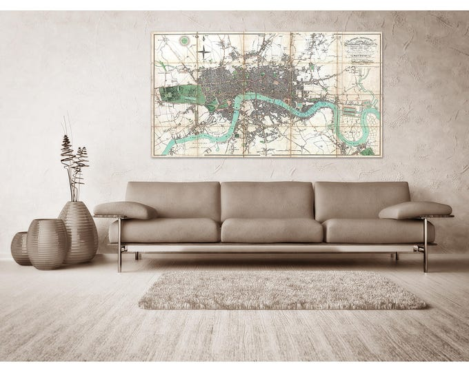 Print of Antique Map of London and Surrounding Villages on Canvas, Photo Paper, and Matte Paper. Free Shipping!!