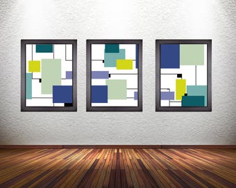 Set of 3 Colorful Modern Abstract Art Prints on Premium Photo Paper, Matte Paper, or Stretched Canvas