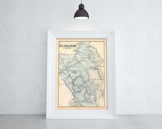 Print of Antique Map of Flatlands in Jamaica on Photo Paper Matte Paper or Stretched Canvas