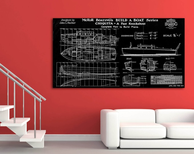 Print of Vintage CHIQUITA Boat Blueprint from Motor Boating's Build a Boat Series on Your Choice of Matte Paper, Photo Paper, or Canvas