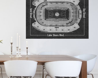 Vintage Print of Air Canada Center Seating Chart on Premium Photo Luster Paper Heavy Matte Paper, or Stretched Canvas. Free Shipping!