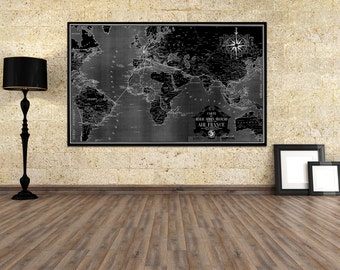 Vintage Antique Air France World Map Airline Plane on photo paper Matte paper Canvas Art Home Decor Giclee Print