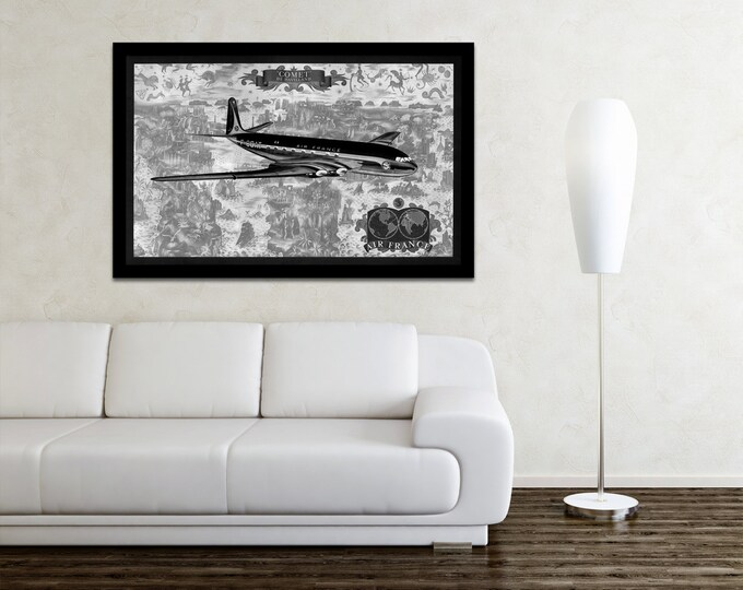 Vintage Antique Air France World Map Havilland Comet Airplane on Photo paper Matte paper Canvas Art Home Decor Giclee Print