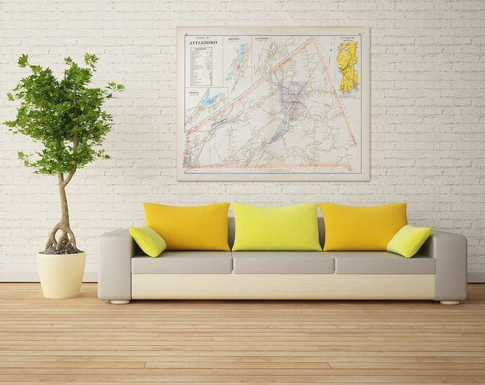 Print of Antique Town Map of Attleboro Massachusetts  on Photo Paper, Matte Paper and Stretched Canvas