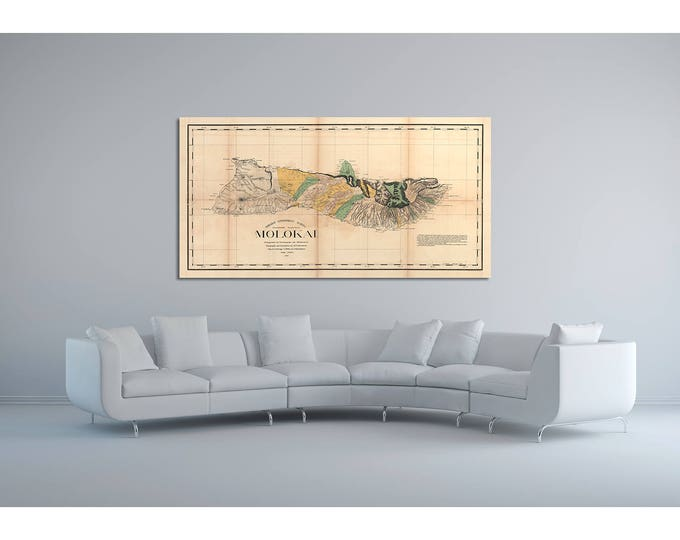 Print of Antique Map of Molokai Hawaii on Photo Paper Matte Paper or Stretched Canvas with Free Shipping!