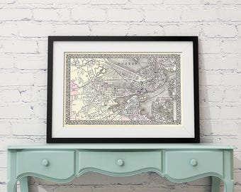 Antique Plan of Boston Massachusetts on Your Choice of Matte Paper, Photo Paper, Stretched Canvas
