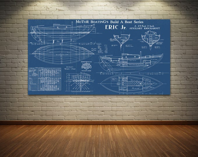 Print of Vintage ERIC JR Boat Blueprint from Motor Boating's Build a Boat Series on Your Choice of Matte Paper, Photo Paper, or Canvas