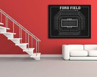 Print of Vintage Ford Field Seating Chart on Photo Paper, Matte paper or Canvas