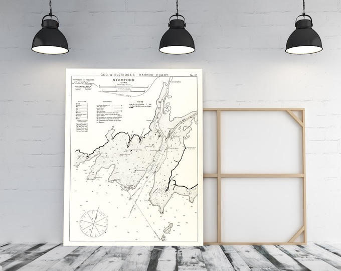 Antique Print of Stamford Connecticut on your choice of Photo Paper, Matte Paper or Canvas Giclee