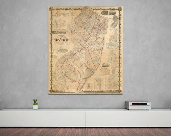 Print of Antique Map of the State of New Jersey on Photo Paper Matte Paper or Stretched Canvas