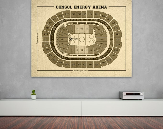 Vintage Consol Energy Arena Pittsburgh Penguins on Photo Paper, Matte paper or Canvas Sports Stadium Tickets Art Home Decor Line Drawing