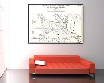 Vintage Antique Print of a Greenwich & Apponaug, Rhode Island nautical chart of Photo Paper Matte Paper or Canvas Giclee