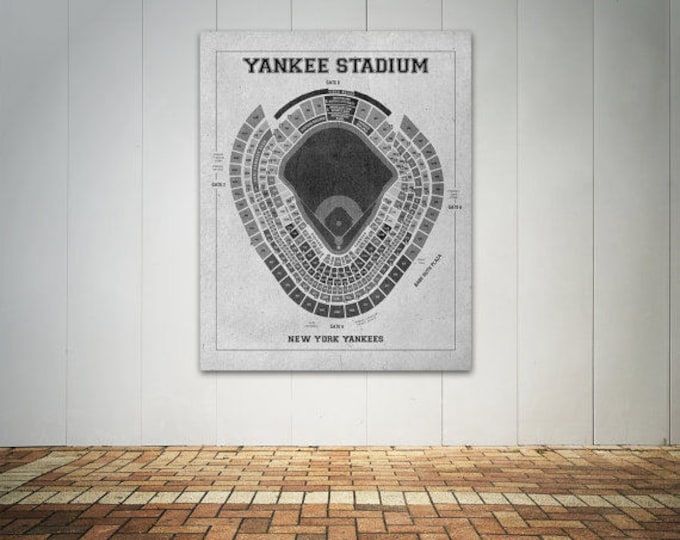 Print of Vintage Yankee Stadium Seating Chart on Photo Paper, Matte paper or Canvas
