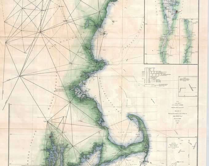 Print of Vintage New England Harbor Map on Photo Paper, Matte Paper, or Canvas