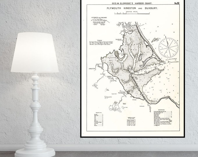 Antique Print of a Plymouth Kingston Duxbury Nautical Chart on your choice of Photo Paper, Matte Paper or Canvas Giclee