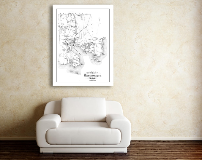 Vintage Print of Mattapoisett Town Map on Matte Paper, Photo Paper, or Stretched Canvas. Free shipping on every item!