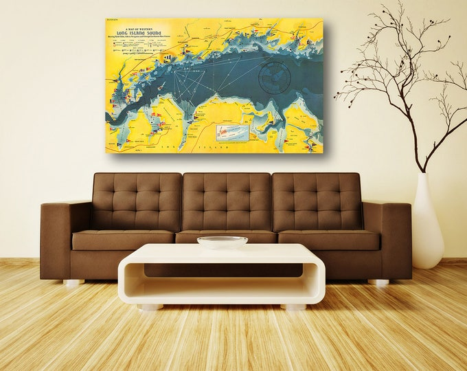 Print of Antique Map of Western Long Island Sound on Photo Paper, Matte Paper or Stretched Canvas