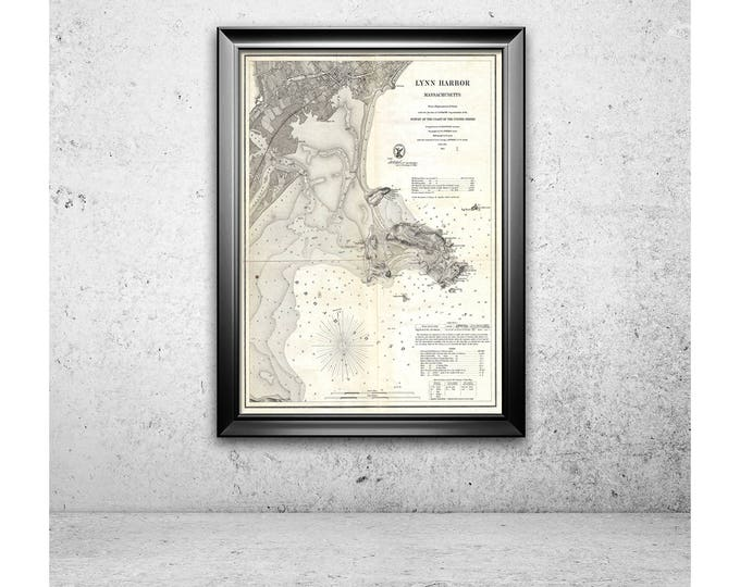 Print of Antique Map of Lynn Harbor on Matte Paper, Photo Paper, or Stretched Canvas. Free Shipping!