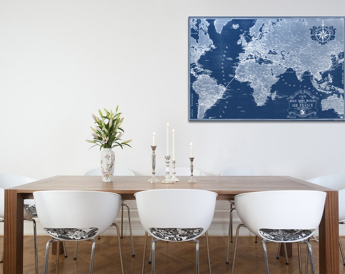 Vintage Antique Air France Chart of World Map on Photo paper Matte paper Canvas Art Home Decor Giclee Print
