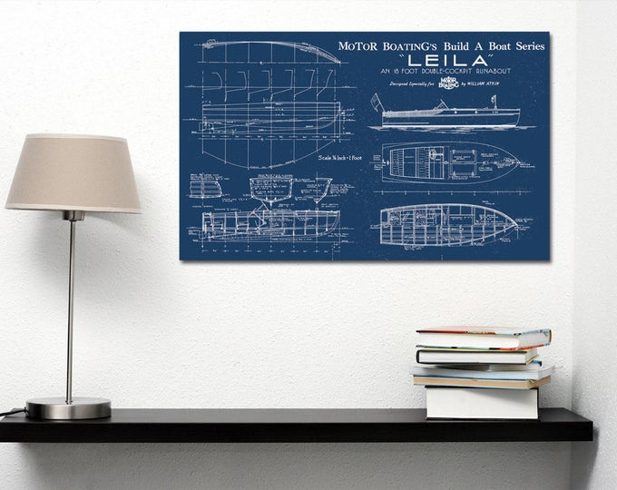 Print of Vintage LEILA Boat Blueprint from Motor Boating's Build a Boat Series on Your Choice of Matte Paper, Photo Paper, or Canvas