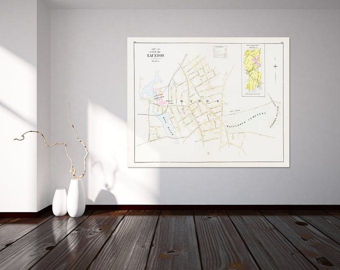 Print of Antique  Street Map of Taunton Massachusetts on Photo Paper, Matte Paper and Stretched Canvas