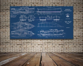 Print of Vintage SUNRISE Boat Blueprint from Motor Boating's Build a Boat Series on Your Choice of Matte Paper, Photo Paper, or Canvas