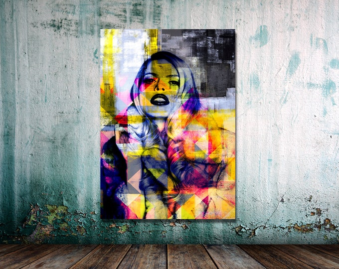 Original Print of Pop Art Collage Featuring Colorful Female Figure. Printed on Canvas, Photo Paper, or Matte Paper in Many Sizes.
