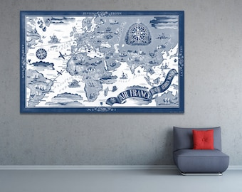 Vintage Antique 1934 Air France World Map Airline Plane on photo paper Matte paper Canvas Art Home Decor Giclee Print