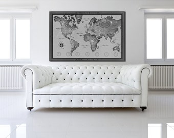 Vintage Antique TWA World Routes; Map of the Continents Print on Photo Paper Matte Paper Canvas Art Giclee