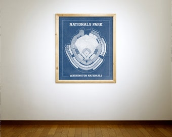 Vintage Style Print of Nationals Park on Photo Paper, Matte Paper, or Stretched Canvas