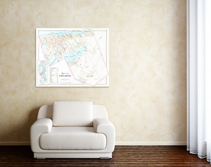 Print of Antique Town Map of Fall River, Massachusetts, Bristol County on Photo Paper, Matte Paper or Stretched Canvas