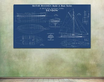 Print of Vintage BENBOW Boat Blueprint from Motor Boating's Build a Boat Series on Your Choice of Matte Paper, Photo Paper, or Canvas