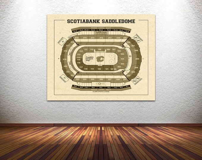 Vintage New Calgary Flames Scotiabank Saddledome on Photo Paper, Matte paper or Canvas Sports Stadium Tickets Art Home Decor Line Drawing