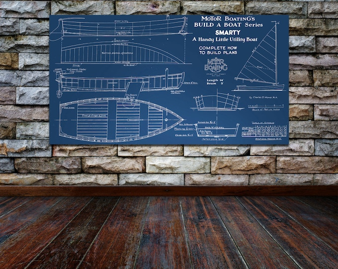 Print of Vintage SMARTY Boat Blueprint from Motor Boating's Build a Boat Series on Your Choice of Matte Paper, Photo Paper, or Canvas