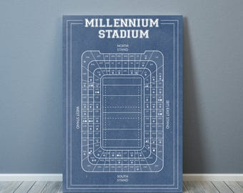 Print of Vintage Millennium Stadium Seating Chart Seating Chart on Photo Paper, Matte paper or Canvas