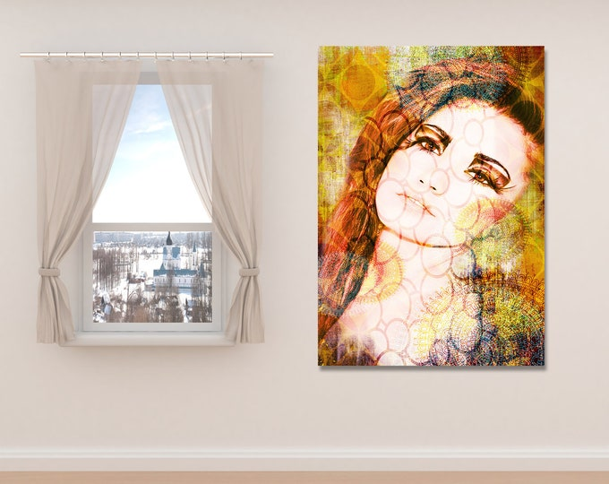 Fine Art Print on Photo Paper, Matte Paper, or Canvas Featuring Female Portrait and Distressed Pattern Collage. Free Shipping!