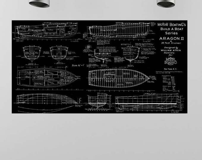 Print of Vintage ARAGON II Boat Blueprint from Motor Boating's Build a Boat Series on Your Choice of Matte Paper, Photo Paper, or Canvas