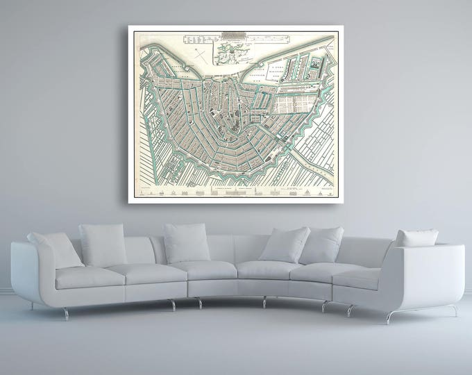 Print of Vintage Map of Amsterdam on Photo Paper Matte Paper or Stretched Canvas