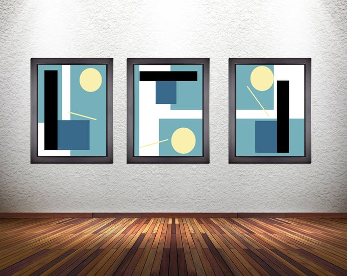 Set of 3 Colorful Modern Abstract Art Prints on Premium Photo Paper, Heavy Matte Paper, or Stretched Canvas
