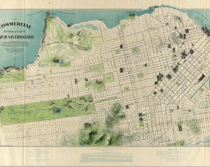 Vintage Antique San Francisco, California Bay Map Print on Matte Paper, Photo Paper or Stretched Canvas