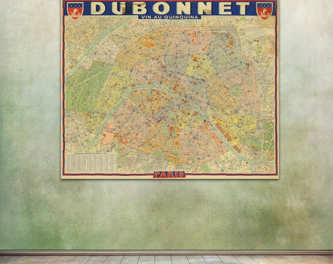 Vintage Print of Dubonnet Paris street Map on Premium Photo Luster Paper, Heavy Matte Paper, or Stretched Canvas Giclee