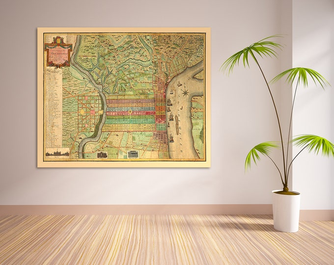 Print of Antique Map of Philadelphia Pennsylvania on Photo Paper Matte Paper or Stretched Canvas