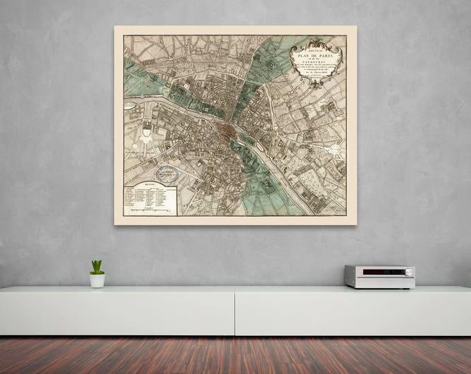 Print of Antique Map of Plan De Paris on Photo Paper Matte Paper or Stretched Canvas