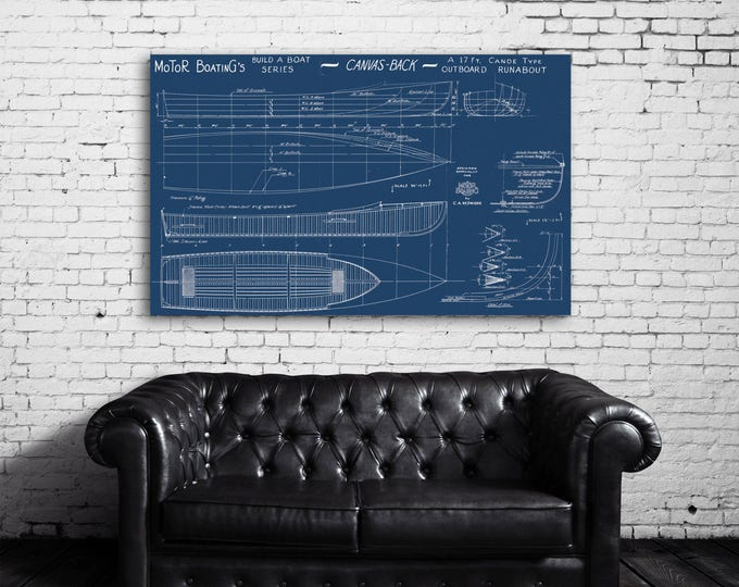 Print of Vintage CANVAS BACK Boat Blueprint from Motor Boating's Build a Boat Series on Your Choice of Matte Paper, Photo Paper, or Canvas