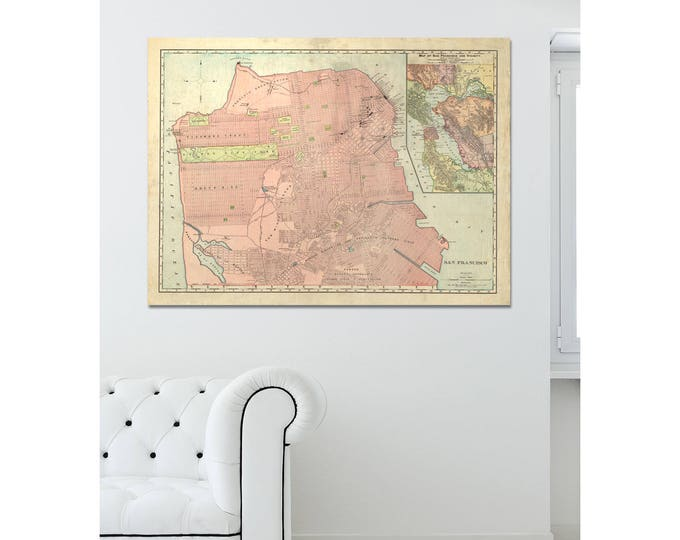 Print of Antique Map of San Francisco on Matte Paper, Photo Paper, or Stretched Canvas. Free Shipping!